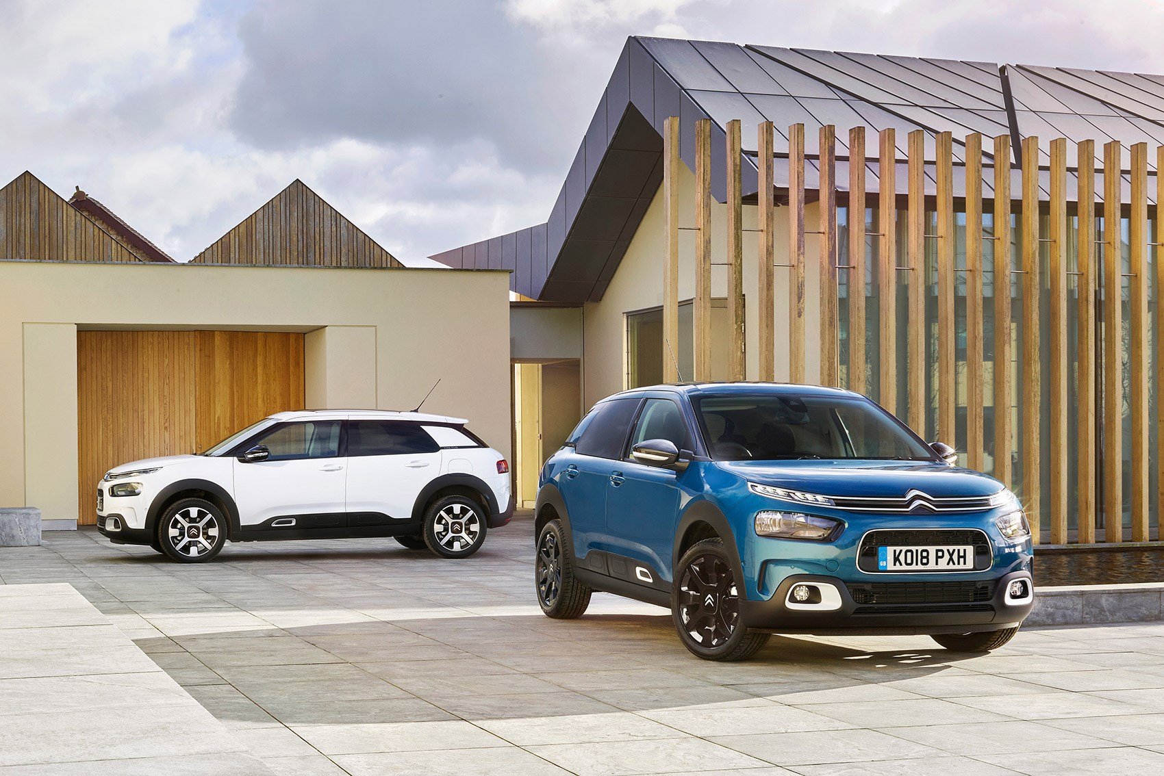 Blue and white Citroen C4 Cactus