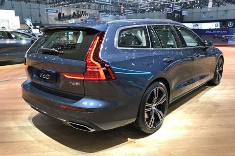 Rear of the Volvo V60 estate at the 2018 Geneva motor show
