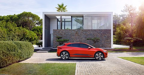 New Jaguar i-Pace: side profile of electric car EV