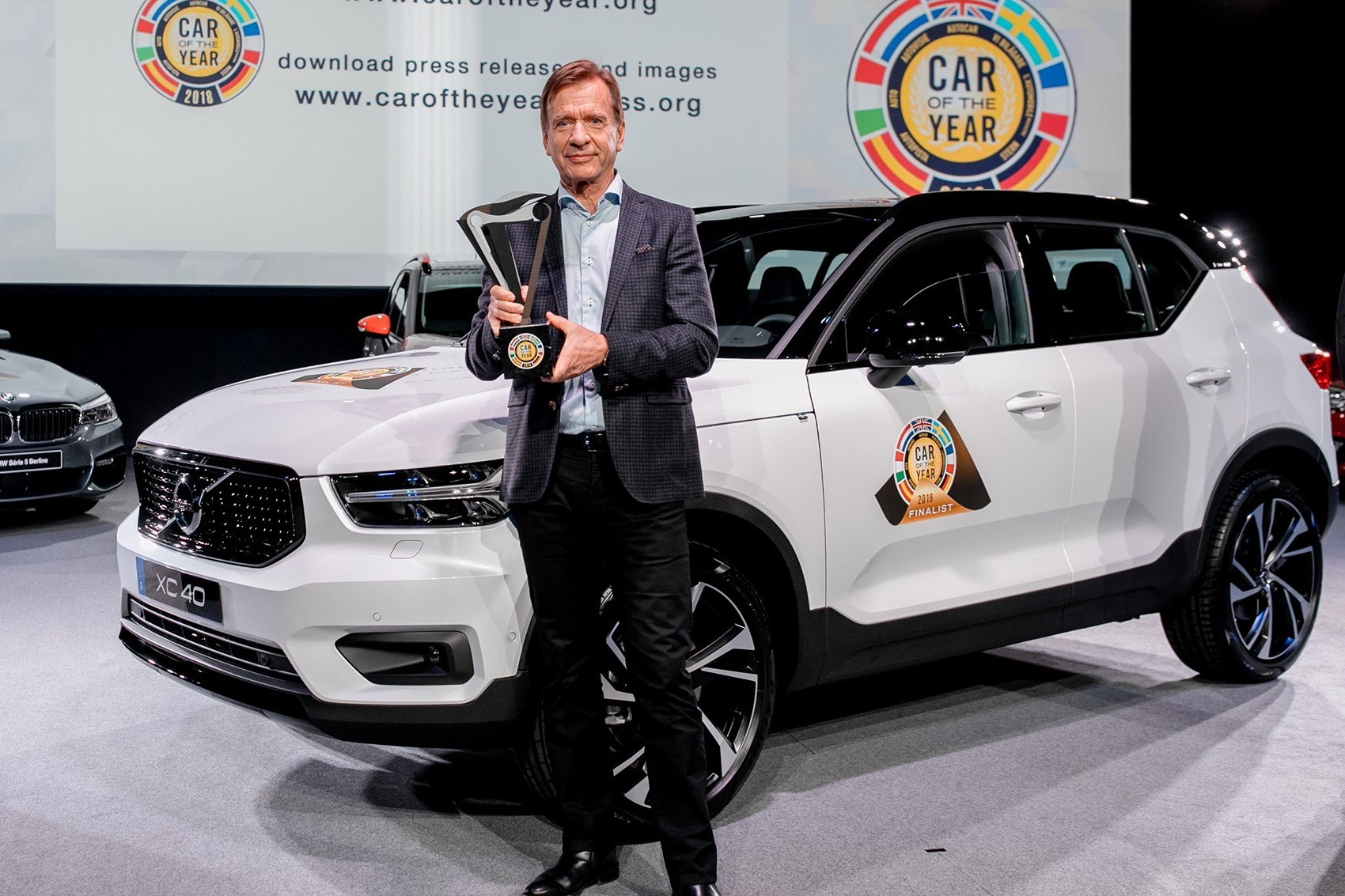 ... Volvo CEO Hakan Samuelsson Accepting The European Car Of The Year  Trophy In Geneva ...