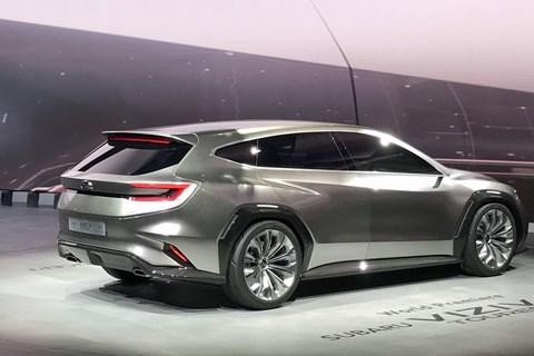 Rear view of the Subaru Viziv Tourer concept at Geneva 2018