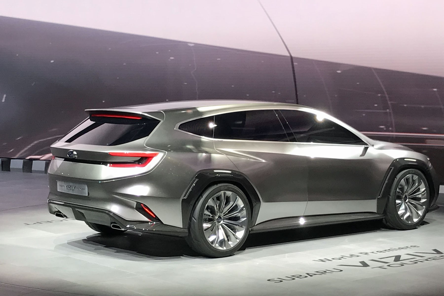 Rear View Of The Subaru Viziv Tourer Concept At Geneva 2018