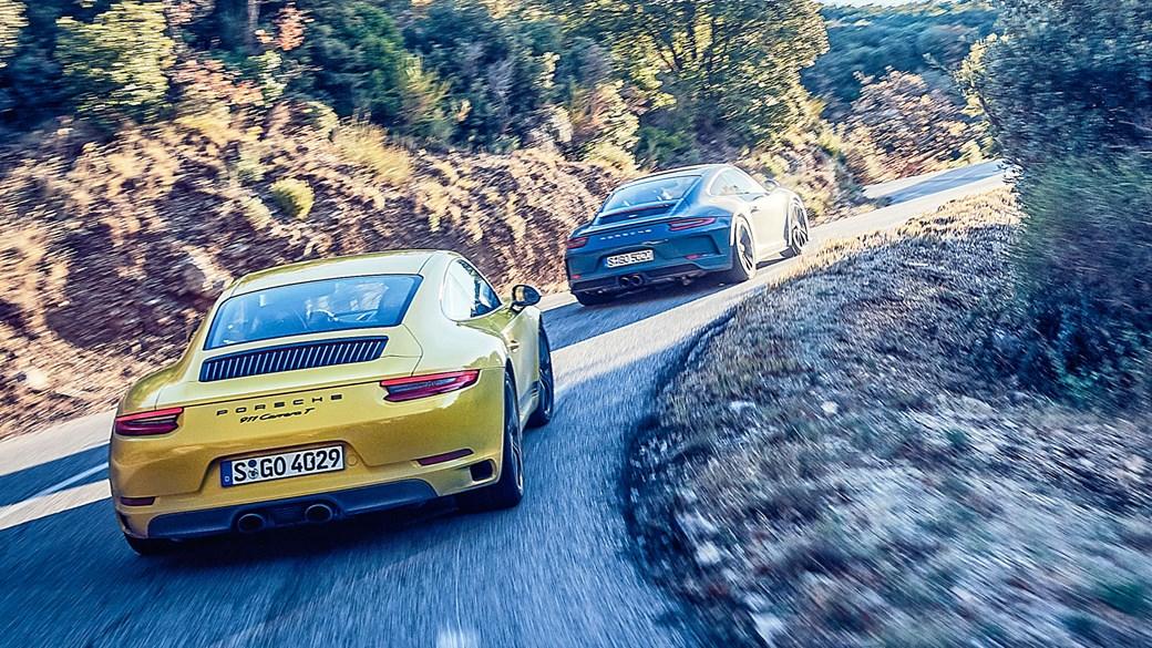 Porsche 911 Carrera T vs GT3 Touring (2018) twin test review: pure vs pure