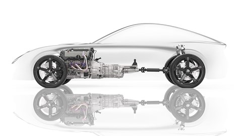 Technical cutaway: the front/mid-engined new 2019 TVR Griffith platform