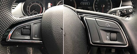 Similar, yet different: the volume controls flip from left to right, Skoda to Audi. Why?