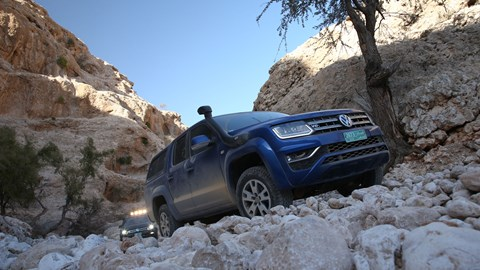VW Amarok V6 255bhp climbing a mountain road in Oman