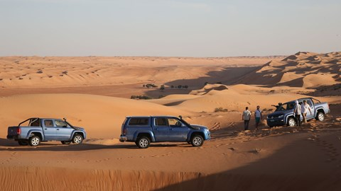 VW Amaroks, chilling in the Omani desert