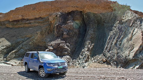 Rocks folded like filo pastry in Oman - and a VW Amarok