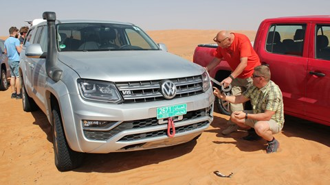 Accident-damaged VW Amarok that hit a sand dune ditch