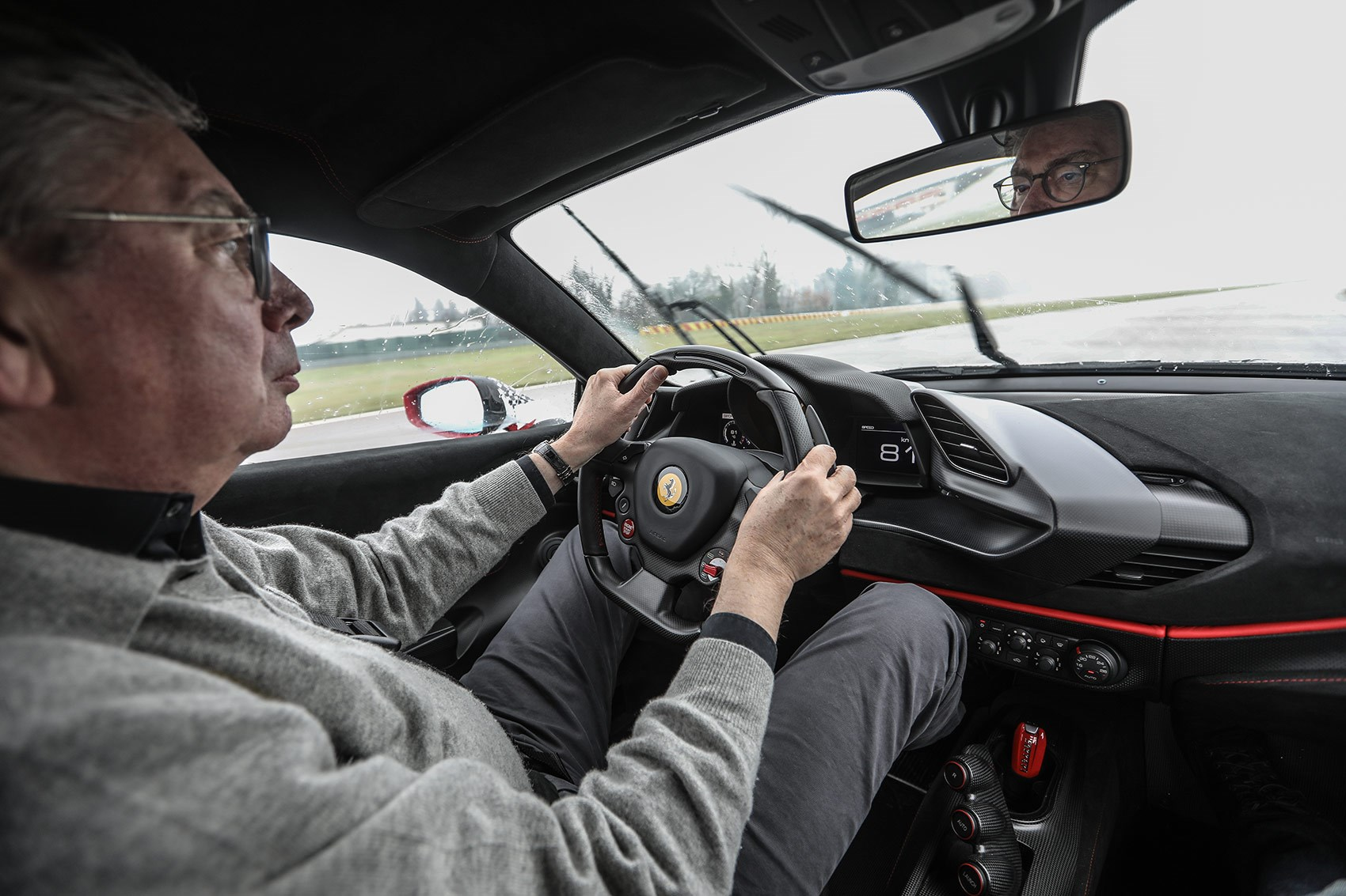 Our Georg Kacher drives the Ferrari 488 Pista on a very cold, snowy day at Fiorano
