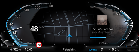 Eco Plus mode in the BMW iDrive 7.0 digital dials