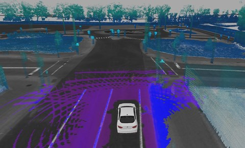 Lidar sensors build up a picture of a car's surroundings, like on this Ford