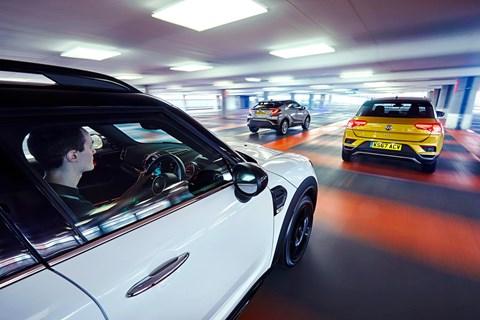 VW T-Roc vs Mini Countryman vs Toyota C-HR triple tracking 2