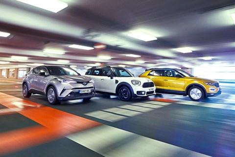 VW T-Roc vs Mini Countryman vs Toyota C-HR triple tracking