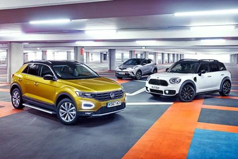 VW T-Roc vs Mini Countryman vs Toyota C-HR triple static