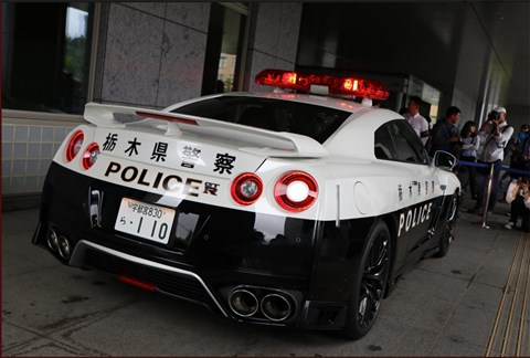 Nissan GT-R police car in Tochigi Prefecture, Japan