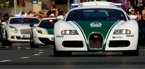 Police supercars in Dubai: Bugatti Veyron, McLaren and Bugatti Continental cop cars (Getty)