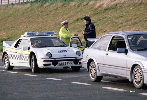 Wildest police cars: a Ford RS200 rally car high-pursuit vehicle!