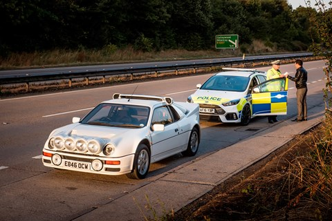 Ironic: a Ford Focus RS police car chasing a Ford RS200