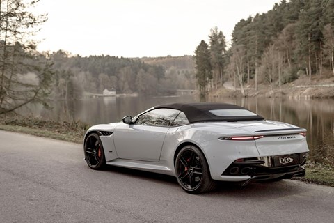 The new 2019 Aston Martin DBS Superleggera Volante with its canvas roof up