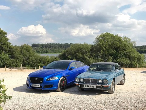 The contemporary Jaguar XJR 575 (nestles) alongside the two-door Jag XJC coupe