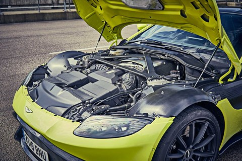 The twin-turbo V8 engine in the new 2018 Aston Martin Vantage