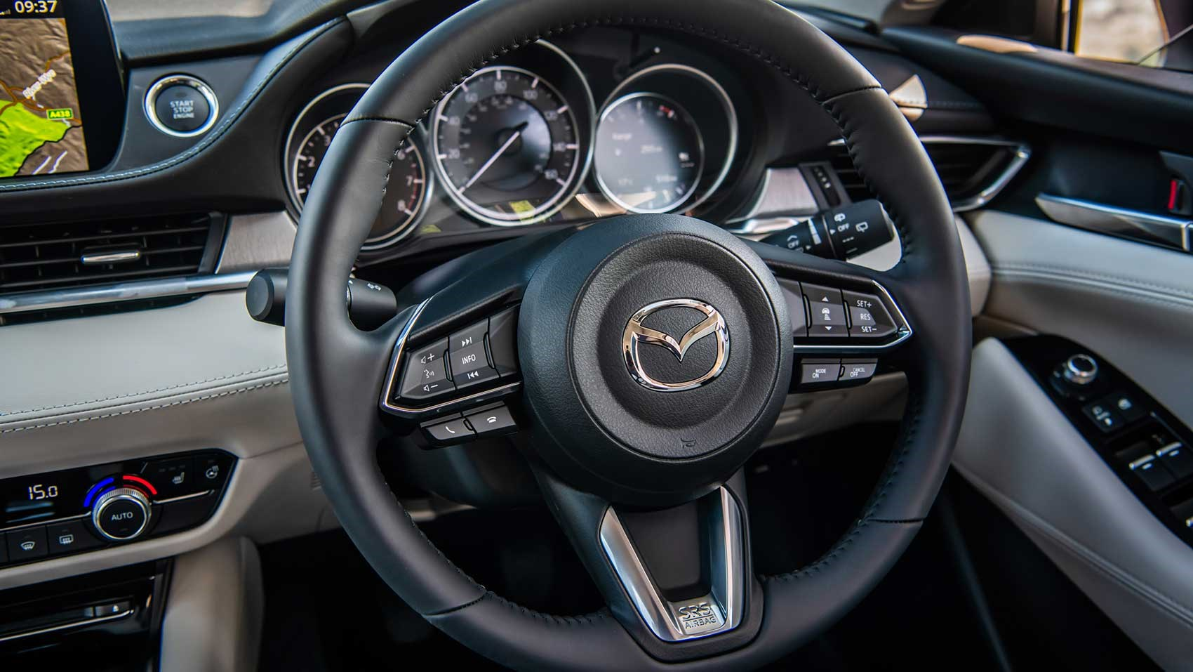 ... Steering wheel and cabin of new Mazda 6 ...