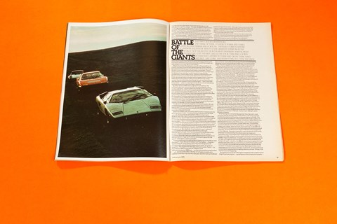 Porsche 911 Turbo v Ferrari Boxer v Lamborghini Countach, CAR magazine, January 1976