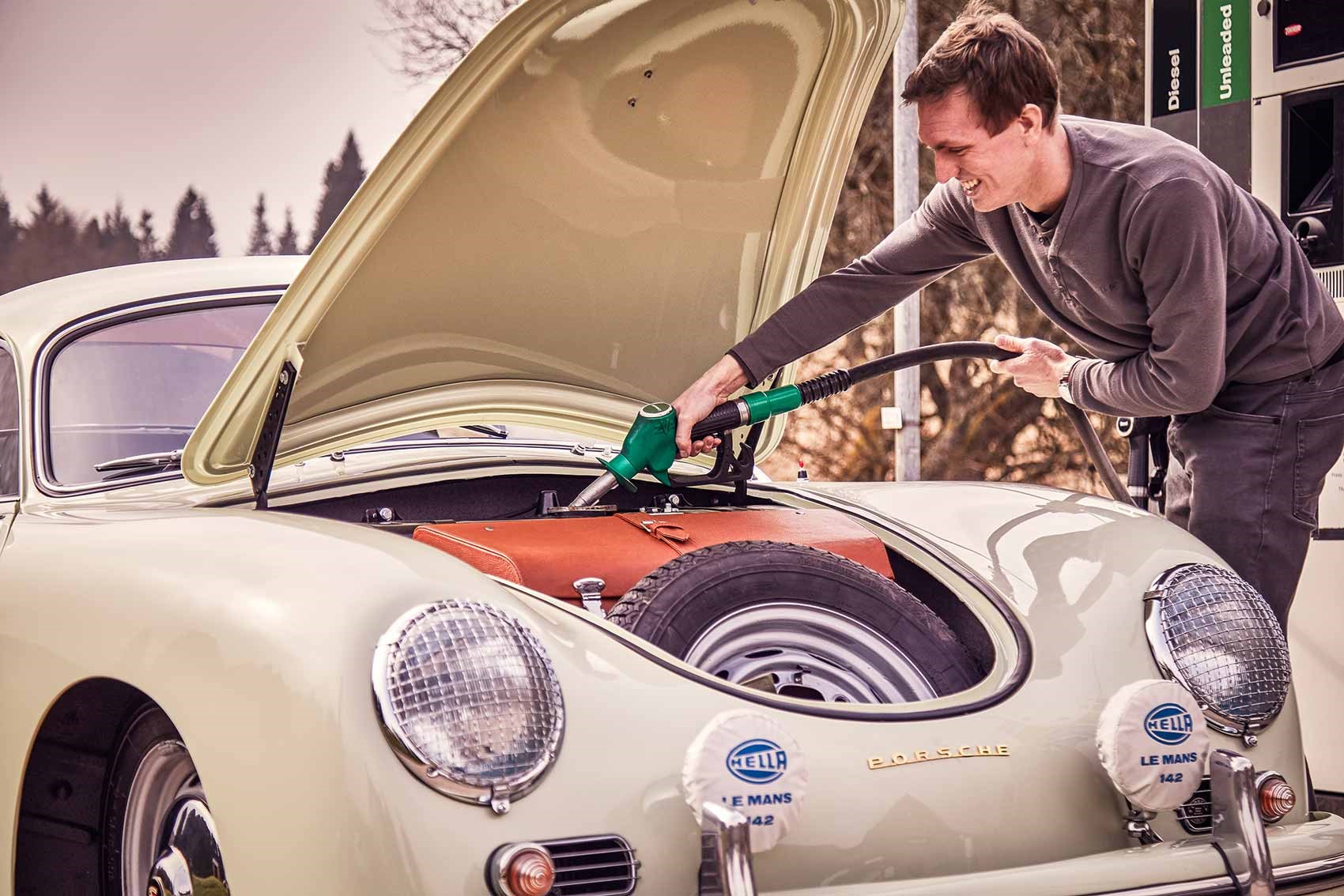 CAR magazine's James Taylor fills up the Porsche 356: fuel tank under the bonnet!