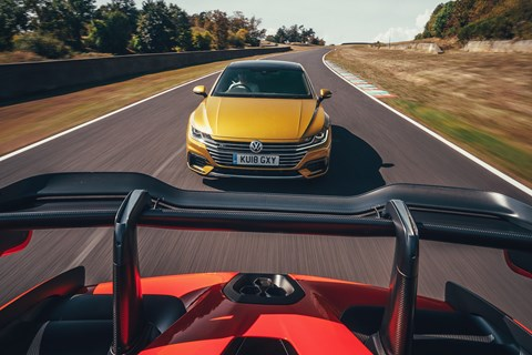 Our VW Arteon chases a McLaren Senna at Sports Car Giant Test 2018
