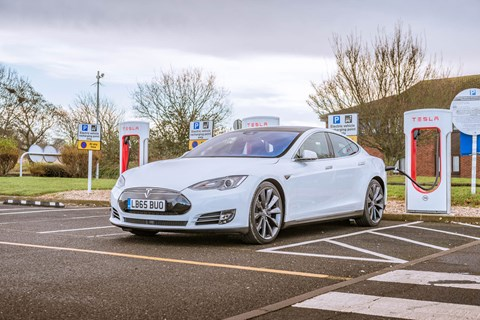Tesla Model S at a Supercharger: an elegant long-distance charging solution