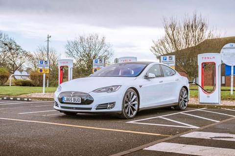 Tesla Model S at a Supercharger: an elegant long-distance charging solution