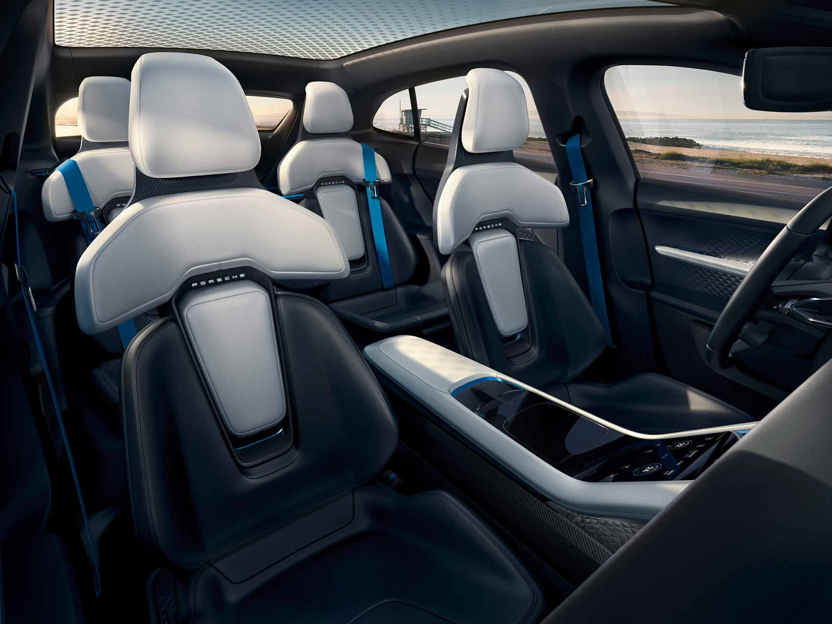 Seats of the Porsche Mission E Cross Turismo EV