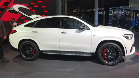 Mercedes-AMG GLE 53 at Frankfurt motor show 2019 - side view, white