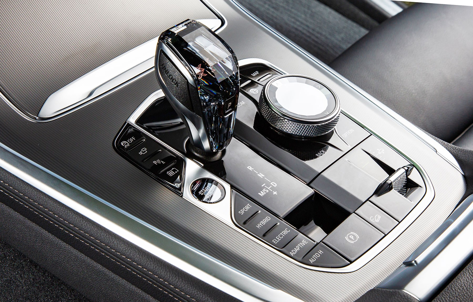 BMW X5 45e plug-in hybrid interior has buttons to let you select full electric, hybrid or sport modes