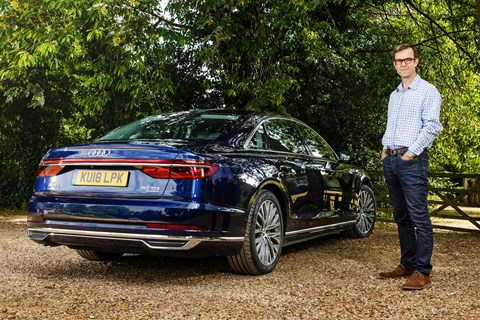 The CAR magazine UK Audi A8 L long-term test car with keeper Tim Pollard