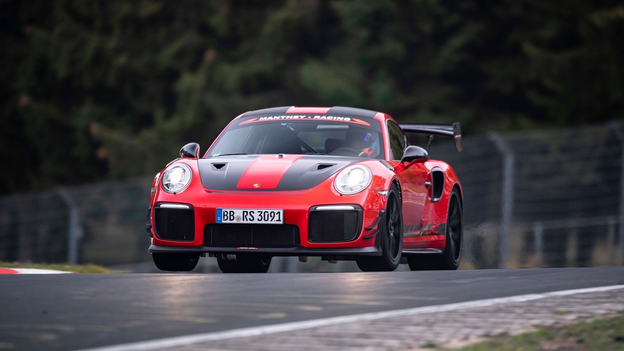 manthey racing tweaked 911 gt2 rs breaks nordschleife road legal record car magazine