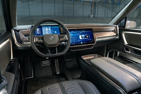 Rivian R1T interior and double-cab cabin