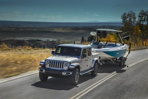 Jeep Gladiator silver towing