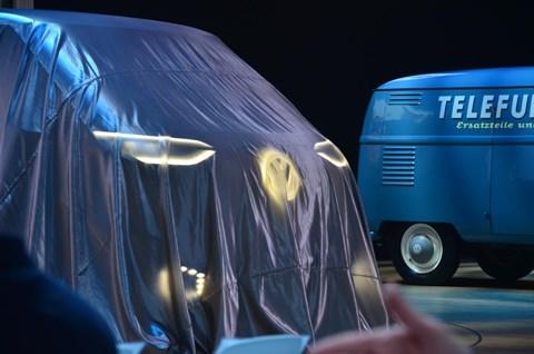 VW ID Buzz Cargo, moments before its world debut alongside an old Volkswagen van