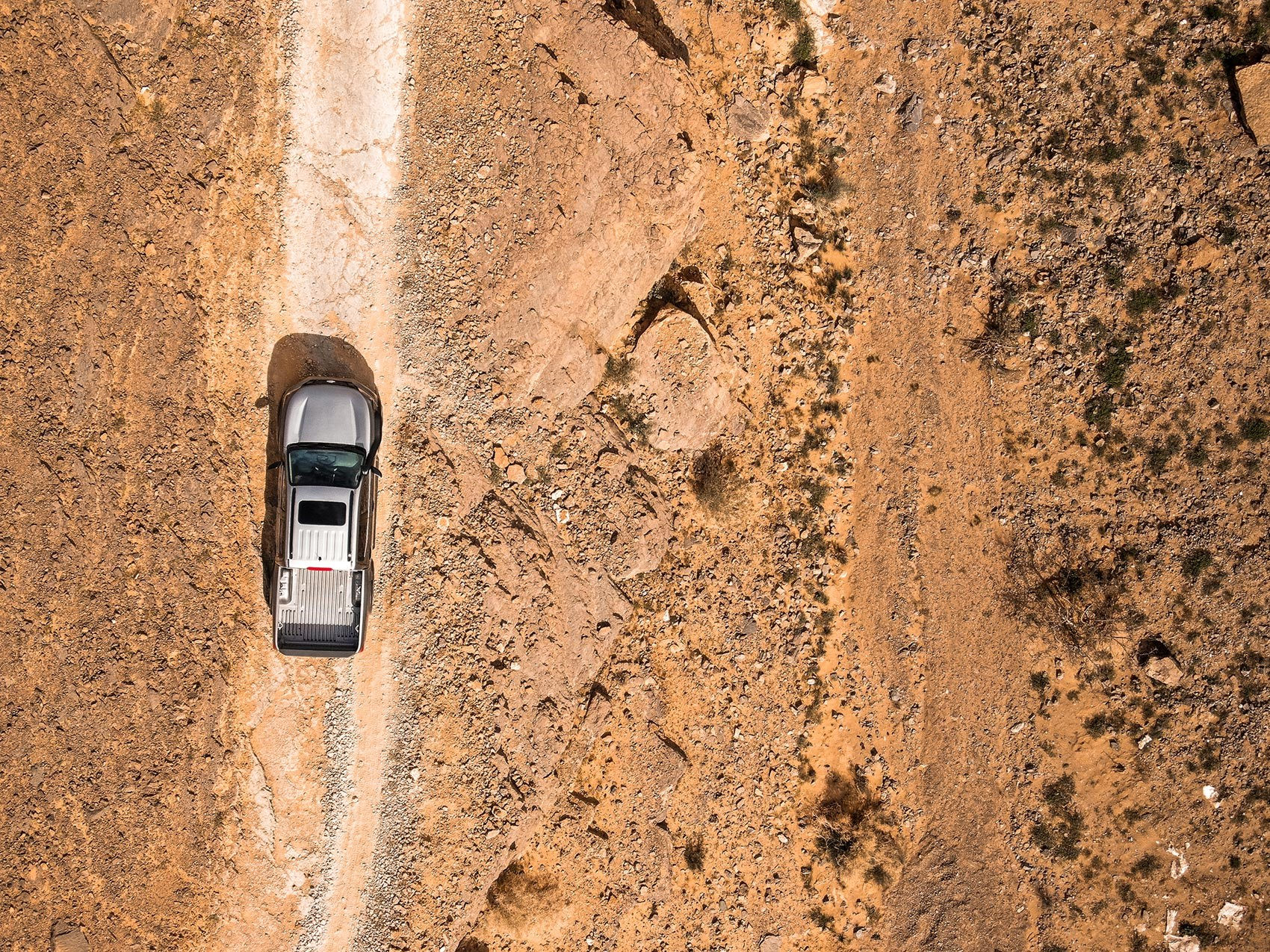 Nissan Navara from above: bird's eye view from drone