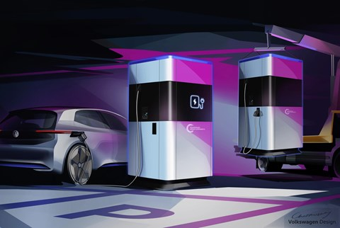 Electric Volkswagen mobile charging station
