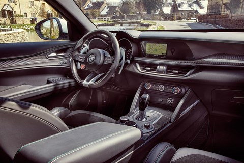 Alfa Romeo Stelvio interior: can't compete with outright quality, infotainment of Porsche