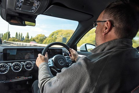 The interior of our Mercedes A-Class hatchback: keeper Colin Overland in the cabin