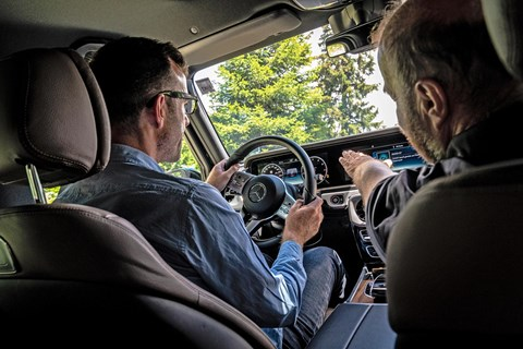 CAR magazine's Tim Pollard and Magna Steyr engineer Max Kniepeiss