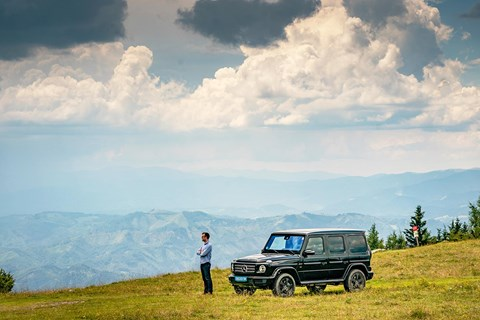 Summit: Tim Pollard and the Merc G-Wagen survey the view at the top of the Schöckl