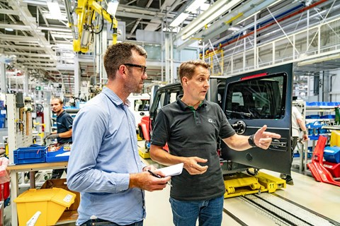 Dr Gunnar Güthenke, head of Mercedes-Benz G (right) and CAR magazine's Tim Pollard (left)