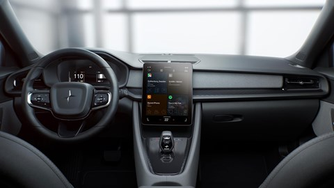 Polestar 2 interior with Google Android