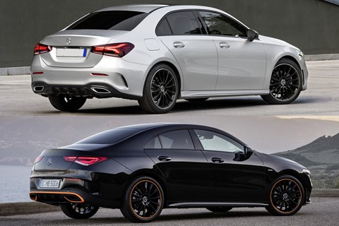 Mercedes A-Class Saloon vs CLA rear