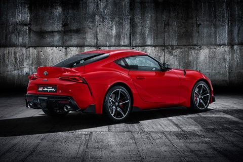 Toyota Supra red rear quarter